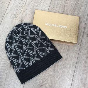 Michael Kors Signature Metallic Fold-Up Cuff Hat
